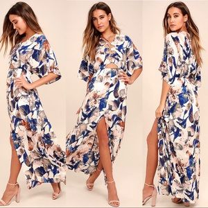 Loveliest of All White Floral Print Lace-Up Maxi